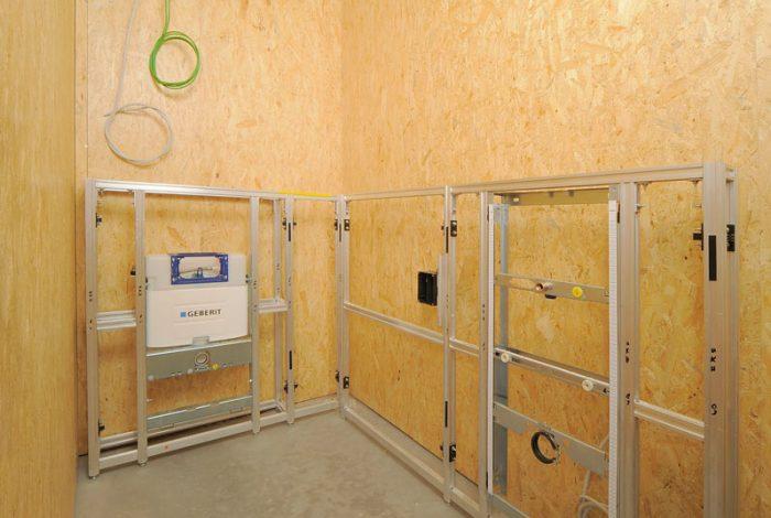 Aluunterbau für WC einbringen ausrichten und befestigen