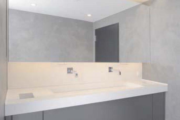 Doppelwaschtischanlage mit individuell gefertigtem Waschbecken
