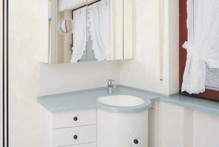 Waschtisch Modul mit Fenstersims-Überbauung Spiegelschrank und Beleuchtungsboard