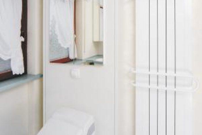 WC Modul mit Dusch WC und integriertem Spiegelschrank und Heizkörper mit Handtuchbügel
