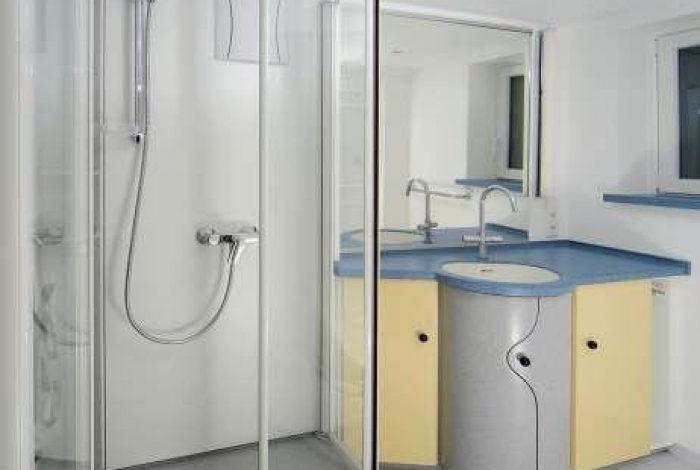 Bilck ins Bad mit teils nach innen geöffneten Duschglastüren