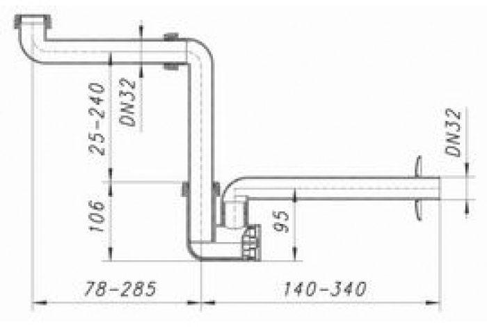 Waschtisch-Möbel-Siphon 137 Skizze