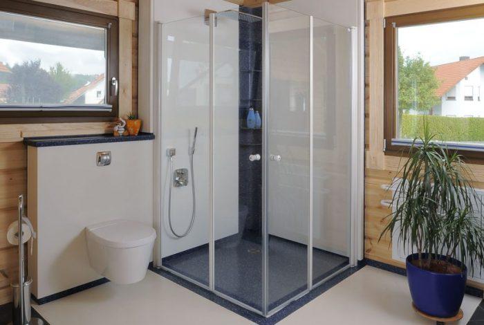 Duschanlage mit geschlossener Duschglastüranlage