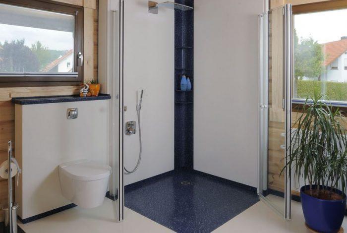 Duschanlage Creanit® mit barrierefreier Duschglastüranlage