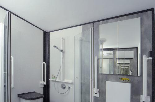 Hochbelastbarer Duschsitz, bodenstehendes Dusch WC und Spiegelschrank